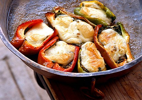 Stuffed peppers with mozzarella di bufala, Italy