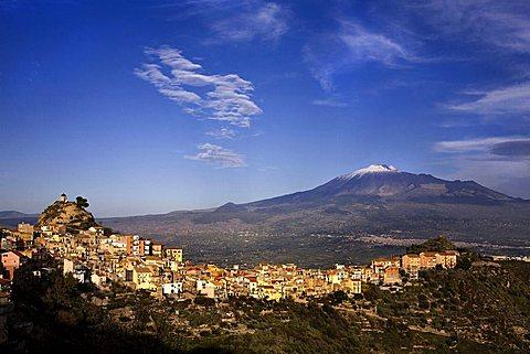Cityscape of Centuripe, in the background Etna volcano, Centuripe, Sicily, Italy