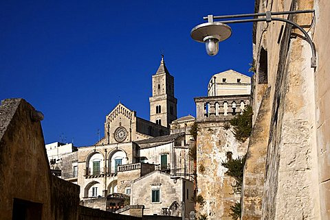 Sassi of Matera and the Cathedral, Old Town, Matera, Basilicata, Italy