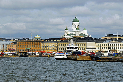 Cityscape from the sea, Helsinki, Uusimaa, Finland, Scandinavia, Europe