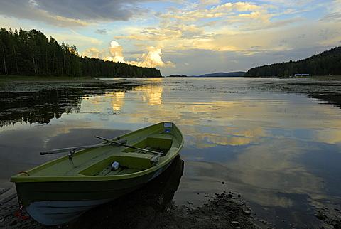 Lake Pielinen at sunset, Koli National Park, North Karelia, Finland, Scandinavia, Europe