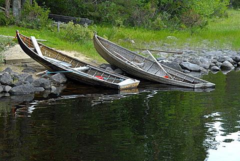 Fishing boats, Zono Kuhmo National Park, Finland, Scandinavia, Europe