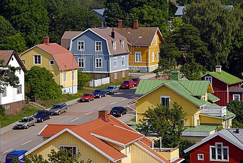 Colourful houses, Mariehamn, Aland, Finland, Scandinavia, Europe