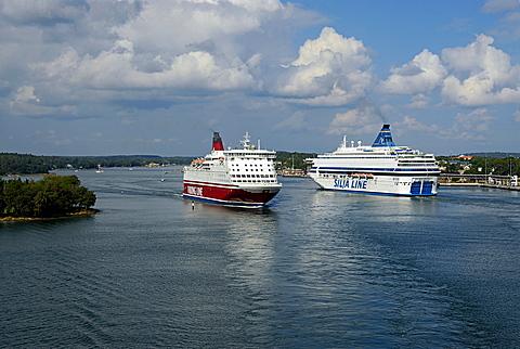 Ship in the harbour, Mariehamn, Aland, Finland, Scandinavia, Europe