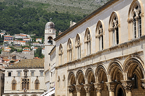Rectors Palace, in the background the clock tower and Sponza Palace, Grad old town, Dubrovnik, Dalmatia, Croatia, Europe