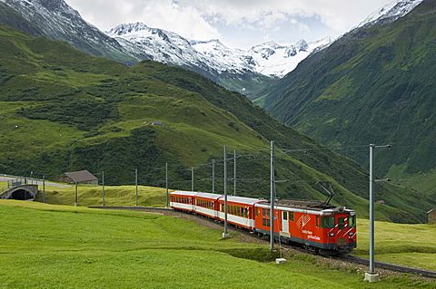 glacier express train, andermatt, switzerland