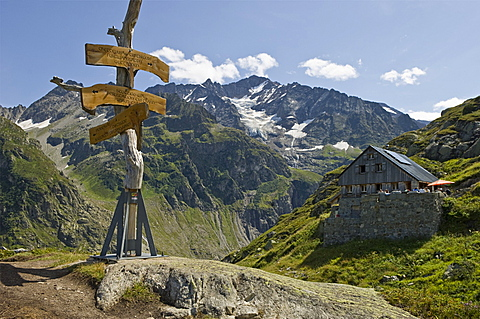 windegg mountain refuge, trift glacier, switzerland