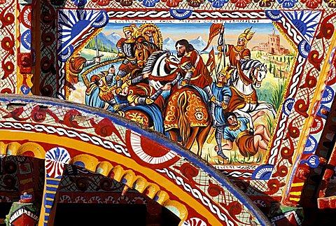 Painted barrow, Sagra del mandorlo in fiore, Agrigento, Sicily, Italy