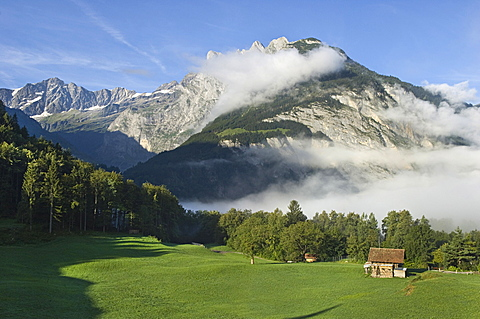 village partial view and mountains, innertkirchen, switzerland