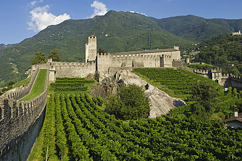 castelgrande and the murata, bellinzona, switzerland