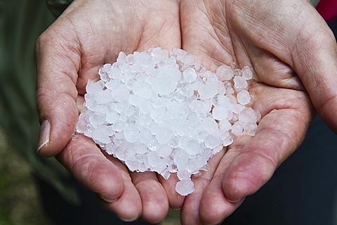 hand with hailstone, cres island, croatia