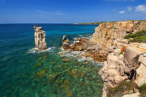Le Colonne stacks, Carloforte, St Pietro Island, Carbonia - Iglesias district, Sardinia, Italy, Europe