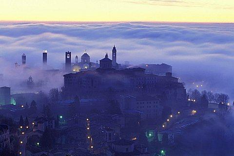 Sunrise over the city, Bergamo, Lombardy, Italy