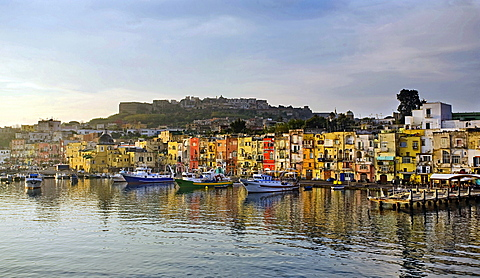 Procida island harbour, Procida island, Naples, Campania, Italy, Europe
