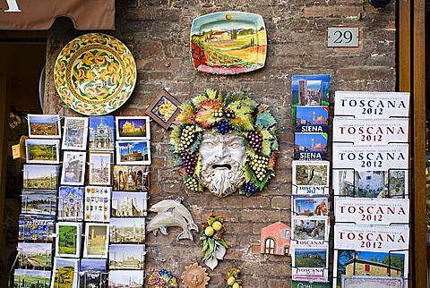 Souvenirs in Piazza del Campo square,Siena city, Tuscany, Italy, Europe