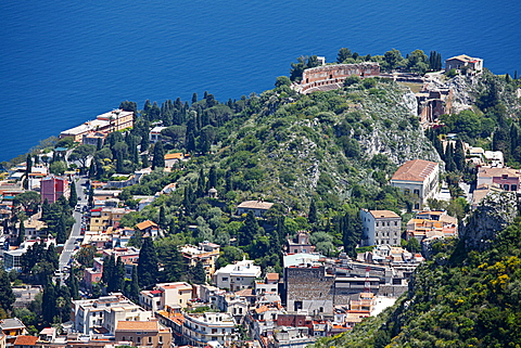 Greek Theatre, Teatro Greco, Taormina cityscape, Messina, Sicily, Italy, Europe