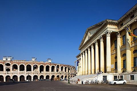 town hall at Bra` square near Arena, Verona, Veneto, Italy, Europe