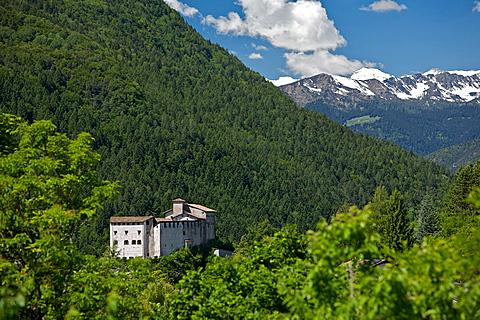 view Stenico castle, Giudicarie, Brenta mountain, Bleggio, Trentino, Italy, Europe