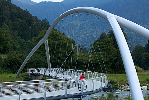 bridge over Sarca river at Tione of Trento, Giudicarie valley, Rendena valley, Trentino, Italy, Europe