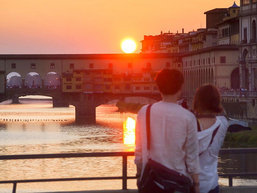 Ponte Vecchio bridge at sunset, Florence, Tuscany, Italy, Europe