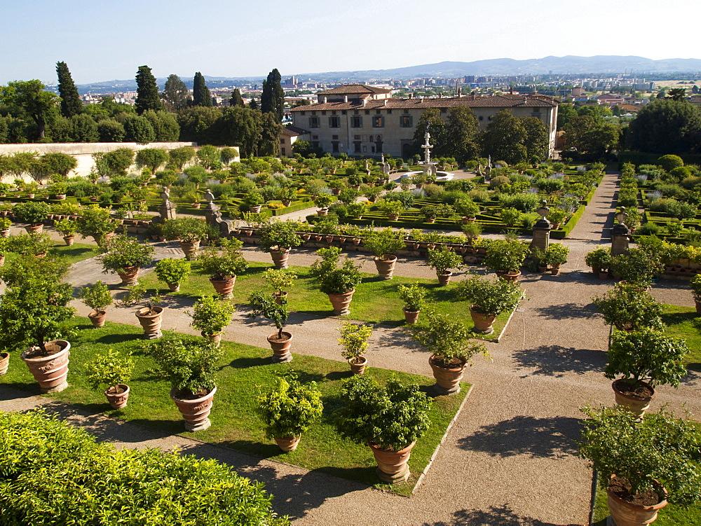 The garden and Villa Medicea di Castello, Sesto Fiorentino, Florence, Tuscany, Italy, Europe