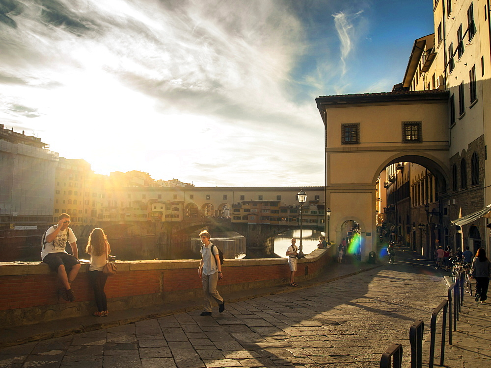 Ponte Vecchio bridge at sunset, Florence, Tuscany, Italy, Europe