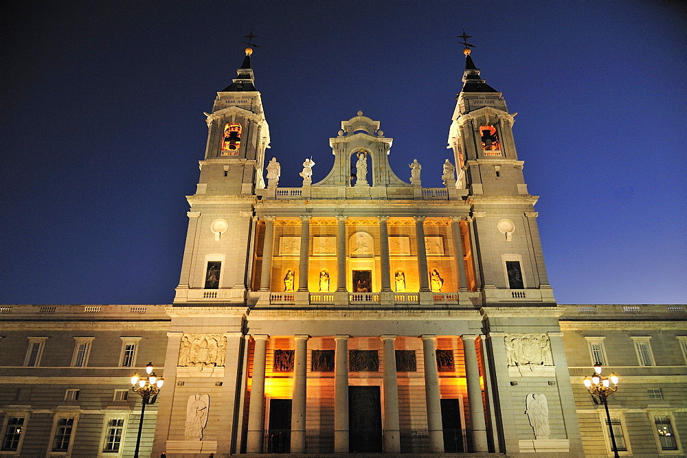 Cathedral Santa Maria de la Almudena by night, Madrid, Spain, Europe