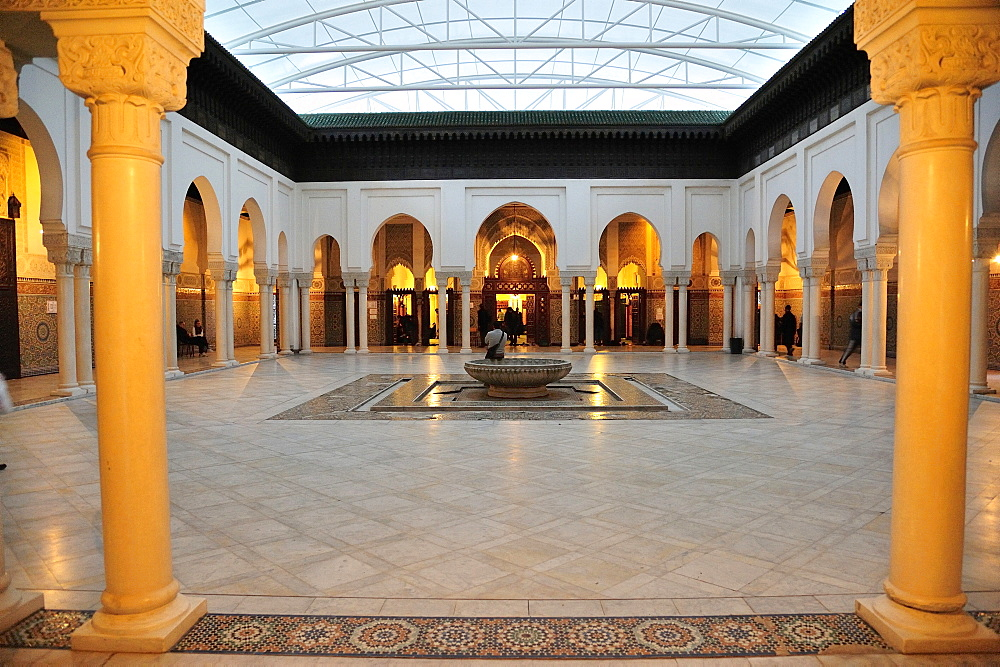 Internal yard of the Great Mosque Paris, France, Europe