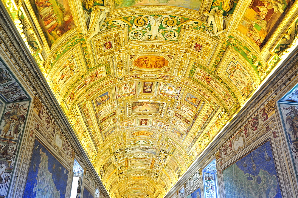 Geographic map gallery, Vatican museum, Rome, Italy, Europe