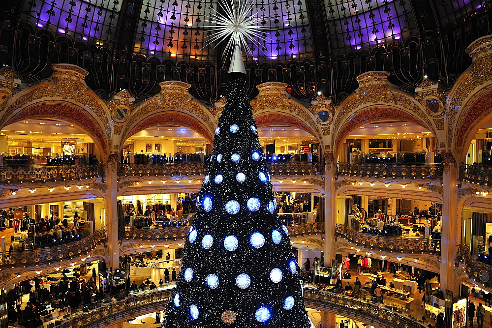 Christmas' tree at Galeries Lafayette Haussmann, Paris, France, Europe
