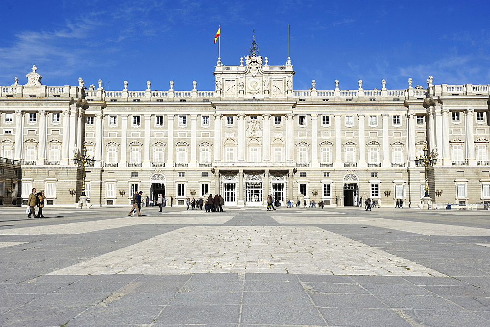Facade of Royal Palace, Palacio Real, Madrid, Spain, Europe