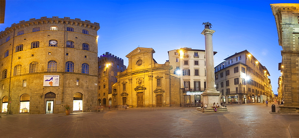 Santa Trinita square and church,via Tornabuoni street,Florence,Tuscany, Italy, Europe