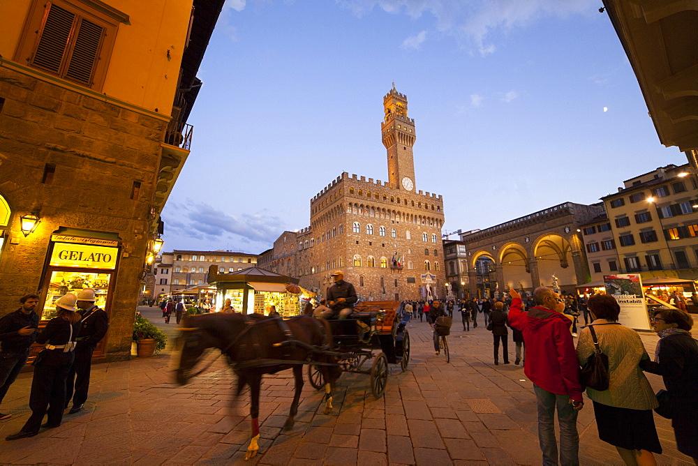 Palazzo Vecchio palace and Signoria square at dusk, Florence, Tuscany, Italy, Europe