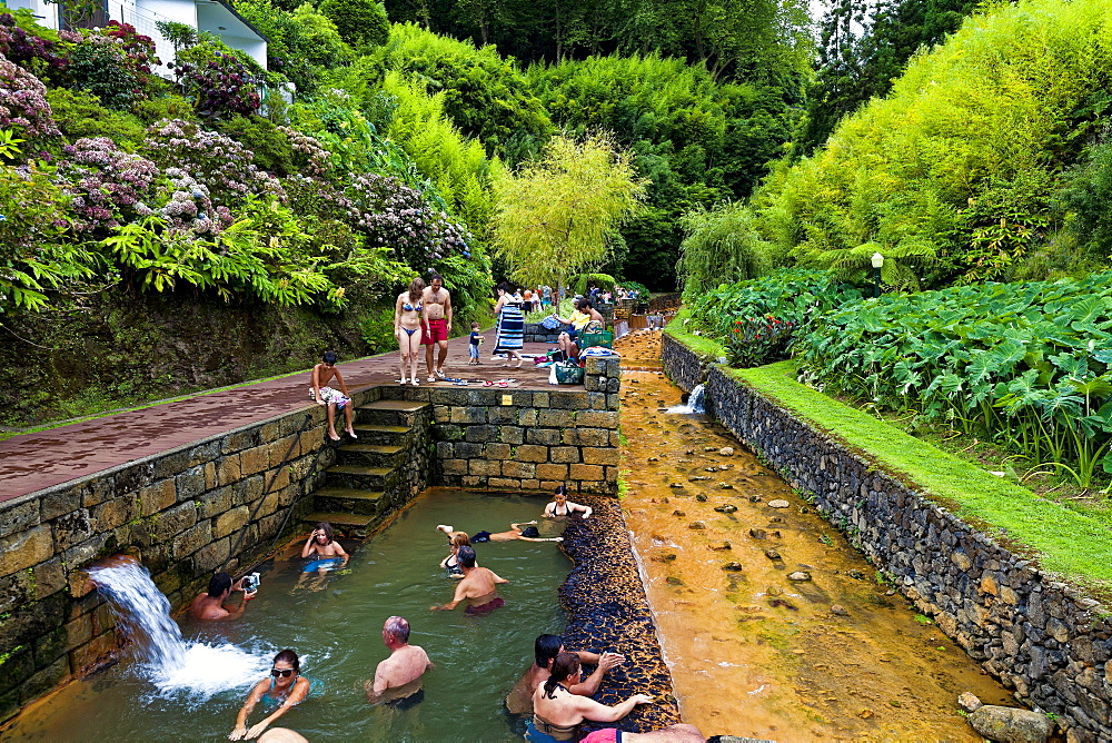Natural water swimming pool, Dona Beija a Furnas, Sao Miguel, Azores Islands, Portugal, Europe