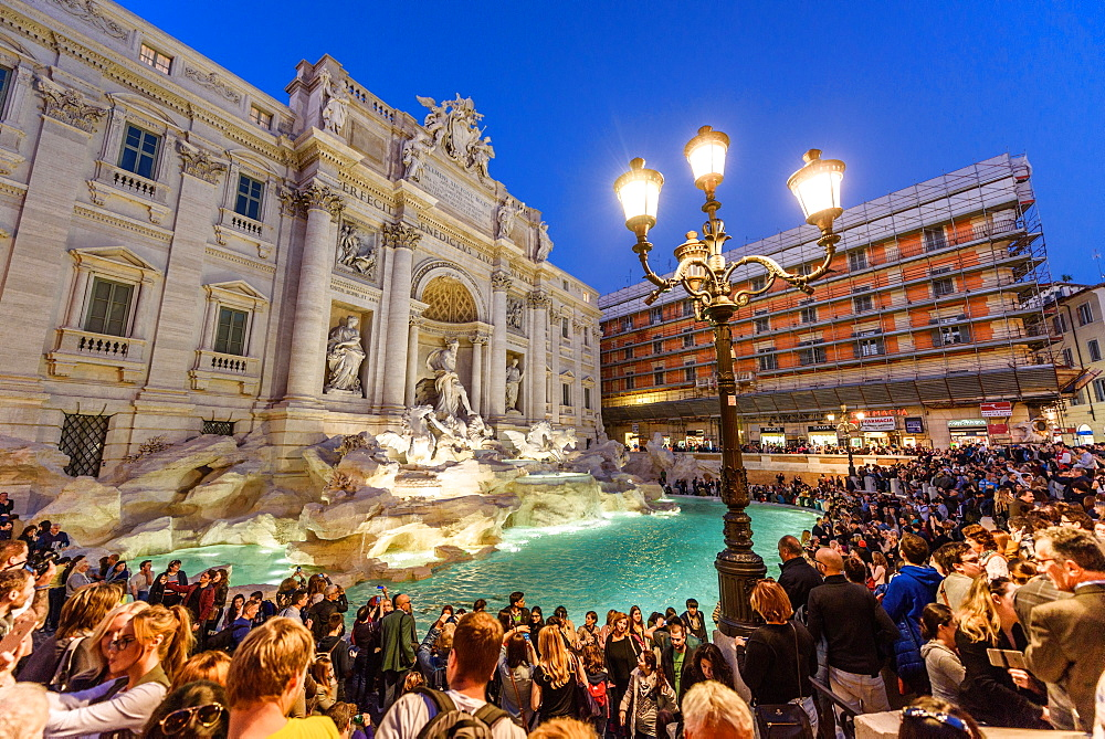 Trevi Fountain illuminated after restoration, Rome, UNESCO, World Heritage Site, Lazio, Italy, Europe