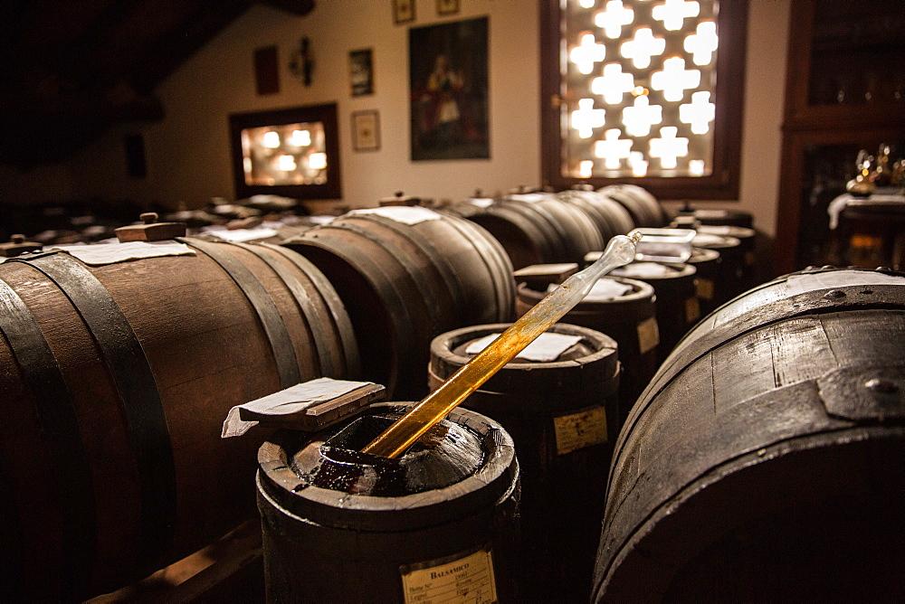 Traditional acetaia where it is aged balsamic vinegar of Modena, IGP, ABM, Magreta, Emilia Romagna, Italy, Europe