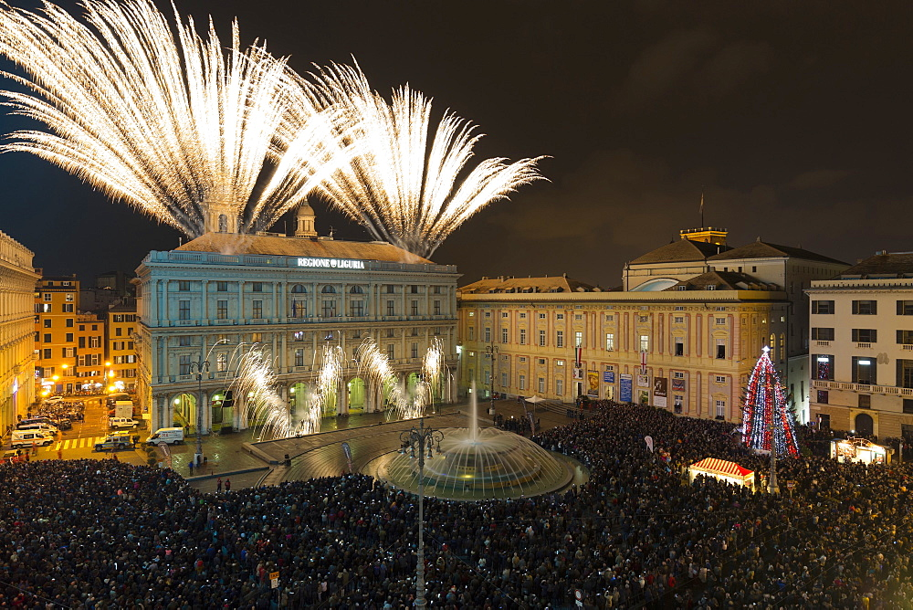 Christmas fireworks, Piazza De Ferrari square, Genoa, Italy, Europe