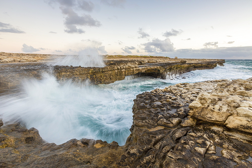Waves of the rough sea crashing on the cliffs of Devil's Bridge, Caribbean, Antigua and Barbuda, Leeward Islands, West Indies