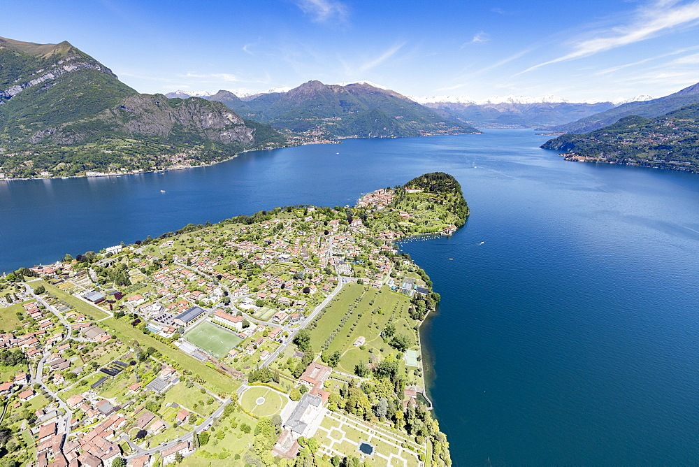 Aerial view of the village of Bellagio frames by the blue water of Lake Como on a sunny spring day Lombardy, Italy, Europe