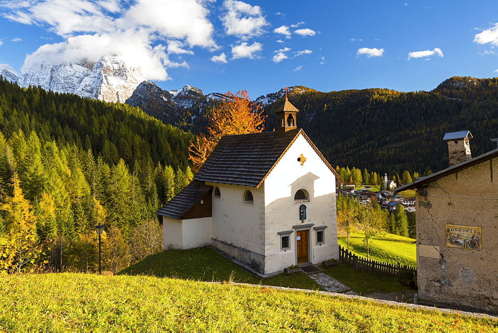 San Osvaldo church with Monte Pelmo in the background, Val Fiorentina, Veneto, Italy, Europe