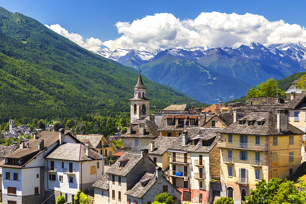 View from Craveggia of the town of Vocogno and the mountains of Val Vigezzo, Piedmont, Italy, Europe