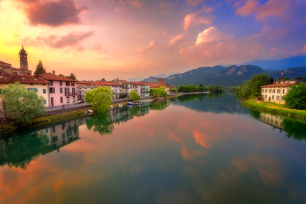 Sunset over Brivio, Lombardy, Italy, Europe