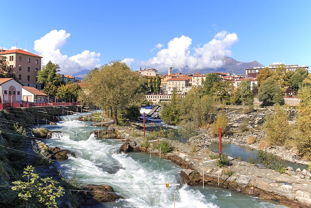 Dora Baltea River and Ivrea cityscape, Ivrea, Piedmont, Italy, Europe