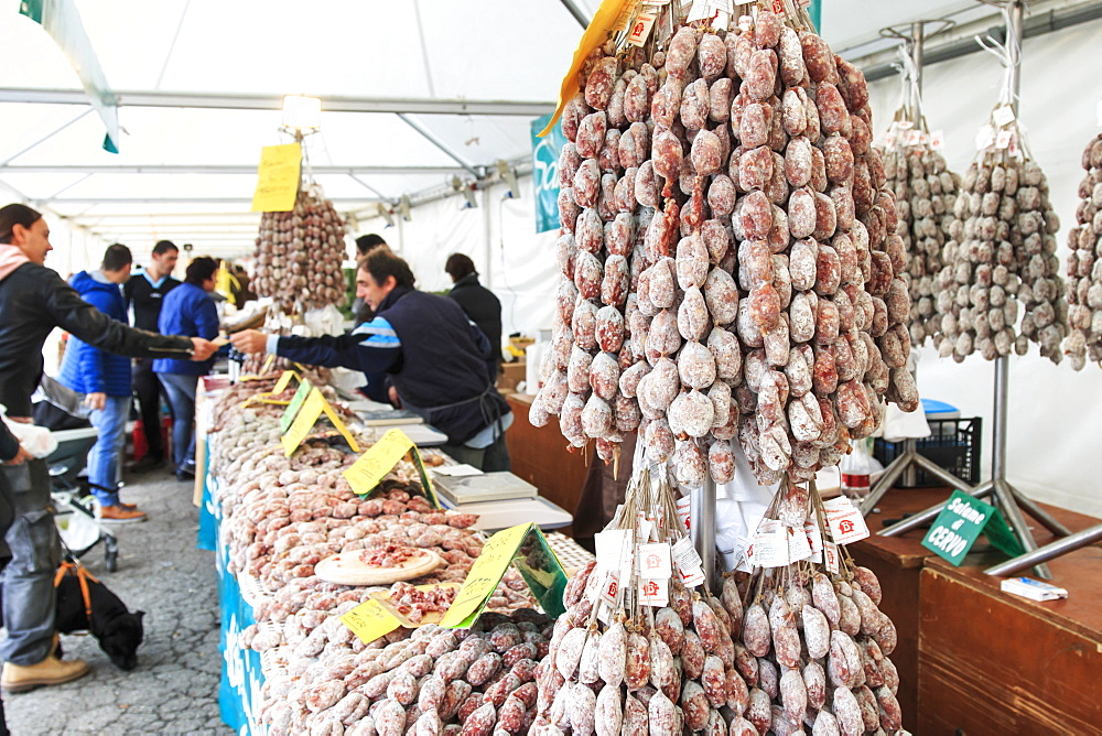 Closeup of Italian salami with relative price tags at the Moncalvo truffle fair, Moncalvo, Piedmont, Italy, Europe