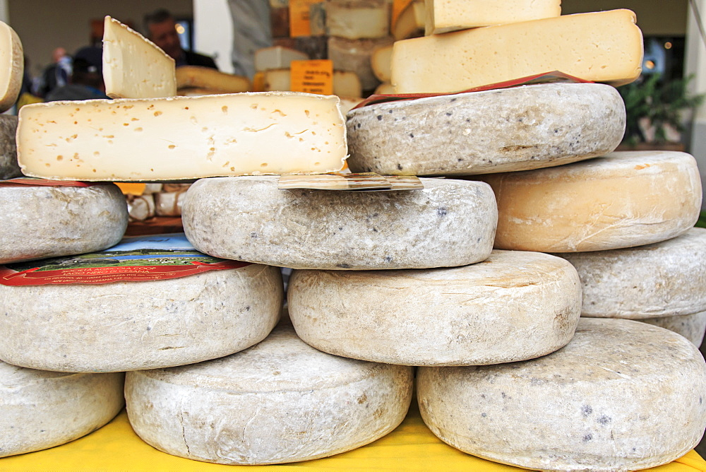 Closeup of Italian cheese, Moncalvo Truffle Fair, Moncalvo, Piedmont, Italy, Europe