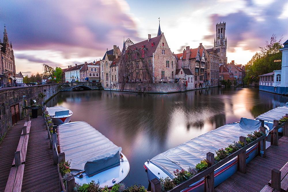 View from the Rozenhoedkaai, Bruges, Belgium, Europe