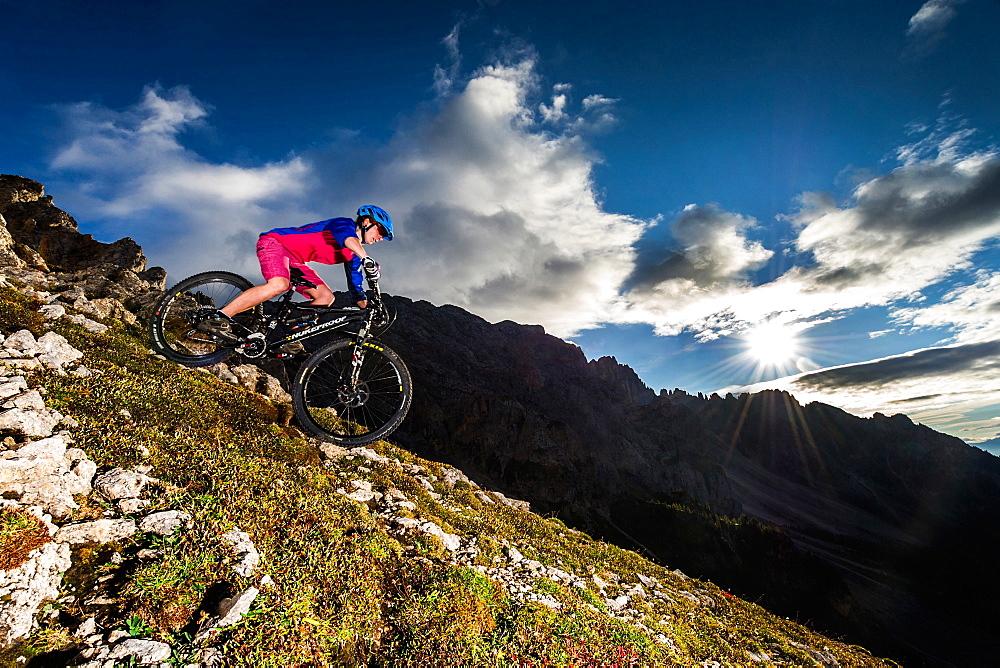 Mountain bikers in action, Carezza, Latemar, Trentino-AltoAdige, Dolomites, Italy, Europe