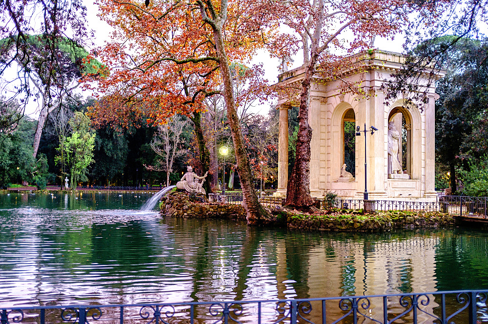The 18th century Temple of Aesculapius, Villa Borghese gardens, Rome, Lazio, Italy, Europe