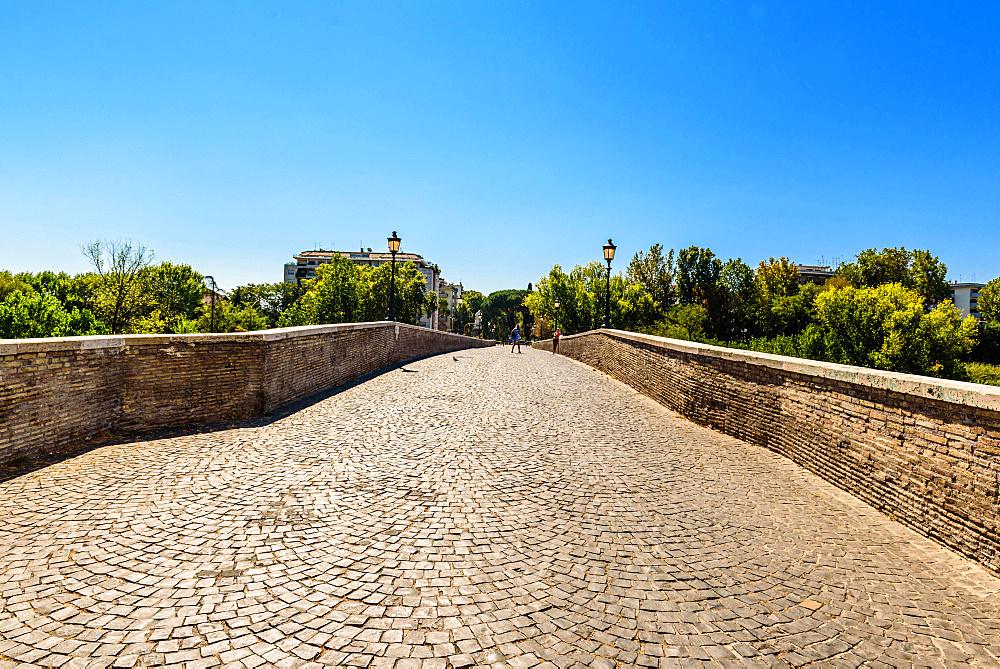 Ponte Milvio,  bridge, Ponte Mollo, Torretta di Valadier, Lucchetti, Rome, Lazio, Italy, Europe