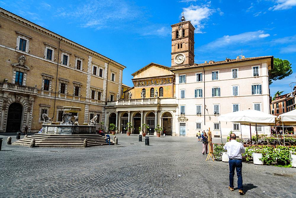 Santa Maria square; Trastevere district; Santa Maria Church; Rome; Lazio; Italy; Europe
